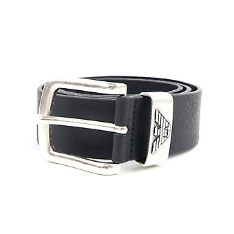 Emporio Armani Logo Keeper Leather Belt Black