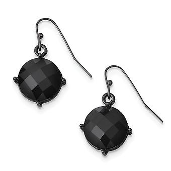 Shepherd hook Black plated Black Epoxy Stones Long Drop Dangle Earrings Measures 26x15mm Wide Jewelry Gifts for Women