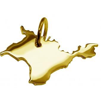 Hänge karta kedja hänge i guldgult-guld i form av KRIM