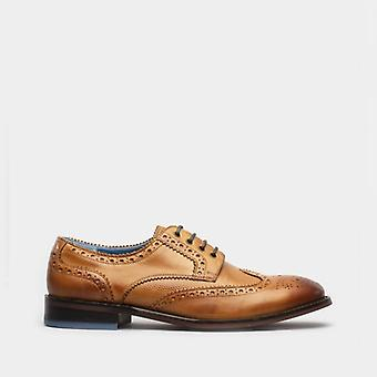 Oswin Hyde Carter Mens Leather Brogues Shoes Tan