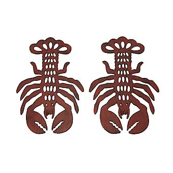 Distressed Red Cast Iron Lobster Shaped Trivet Set of 2