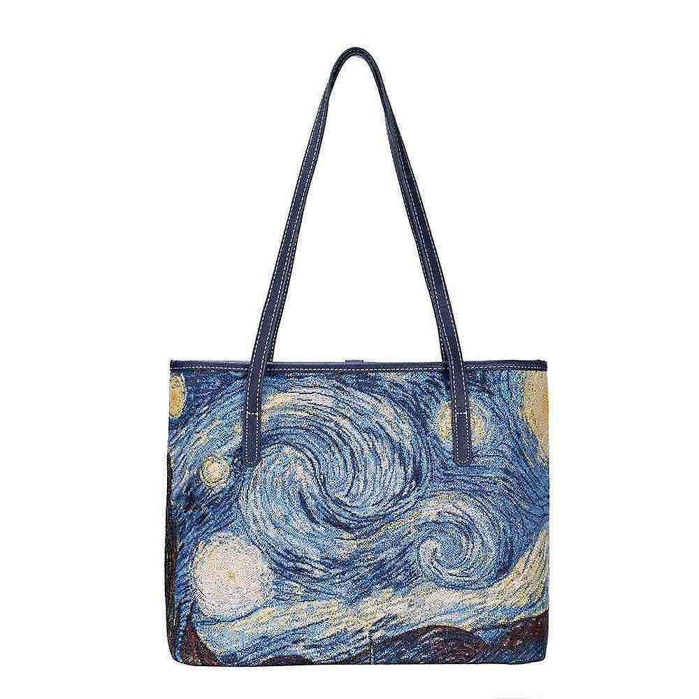Van gogh - starry night shoulder tote bag by signare tapestry / coll-art-vg-star