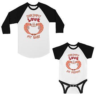 Shrimply kjærlighet baby mamma mor og baby matchende baseball skjorter