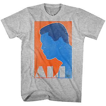 Amerikanische Klassiker Muhammad Ali Orange und blau T-Shirt - grau Heather