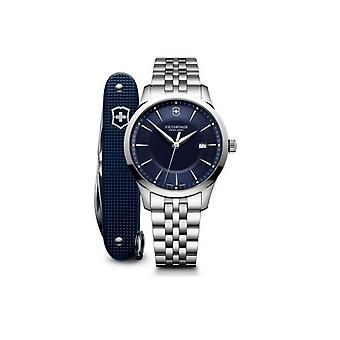 Victorinox 241802-1-Alliance Watch/sølv stål sølv blå dial og Swiss Knife Homme