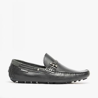 Front Emerson Mens Leather Penny Driving Loafers Black