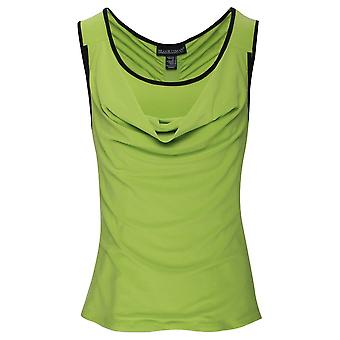 Frank Lyman Lime Green Sleeveless Drape Top With Back Zip