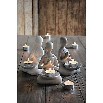 Majas Cottage Yoga Mädchen Beige Kerzenhalter