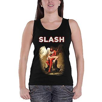 Slash Vest Angel and Devil logo Official Womens New Skinny Fit Puff Print Top