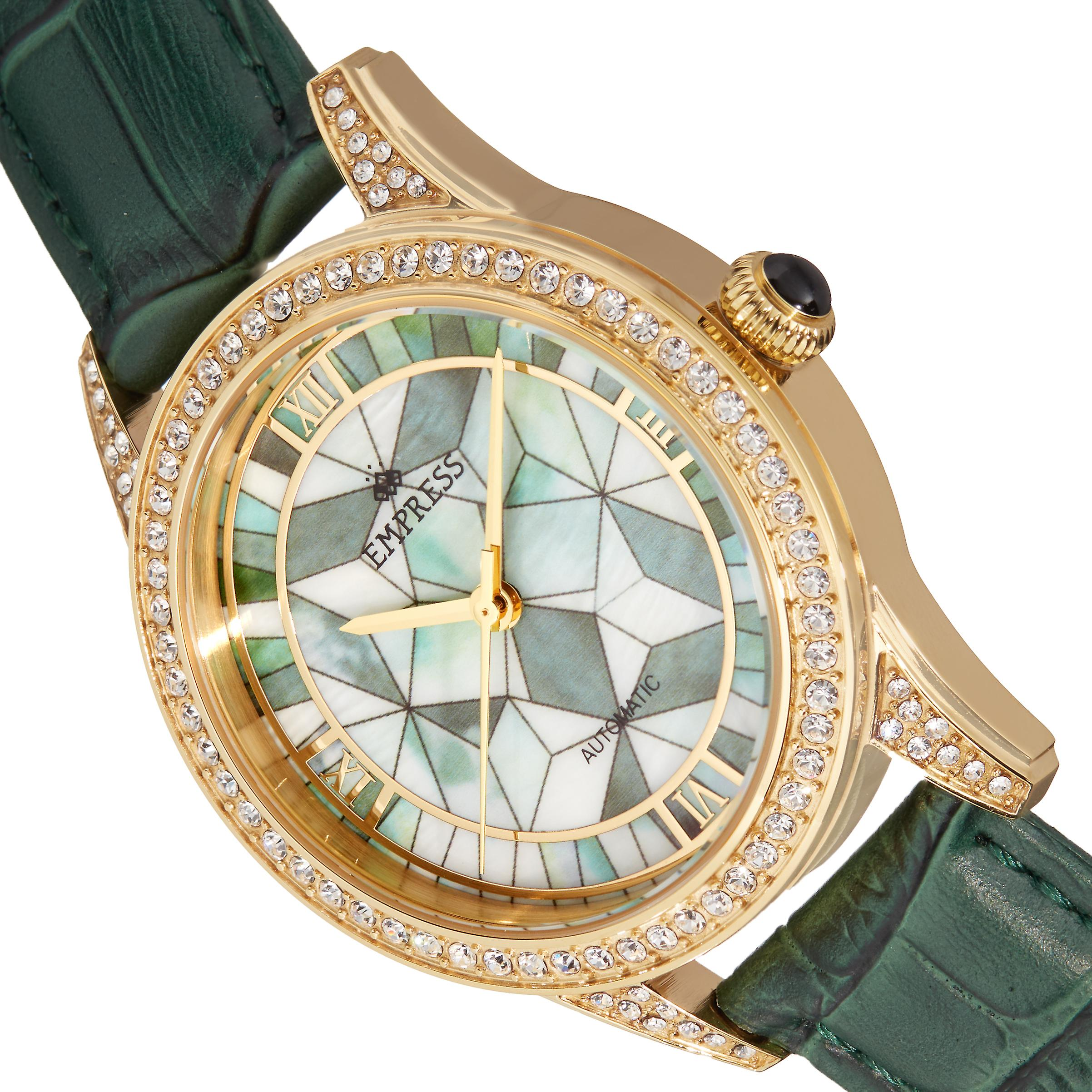 Empress Augusta Automatic Mosaic Mother-of-Pearl Leather-Band Watch - Gold/Green