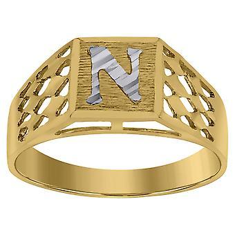 10k Two tone Gold baby voor jongens of meisjesLetter Naam Gepersonaliseerde Monogram Initial N Band Ring Measures 6.6x3.50mm Wide S