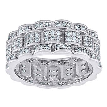 925 Sterling Silver Mens CZ Cubic Zirconia Simulated Diamond Presidential Eternity Ring Band Jewelry Gifts for Men - Rin