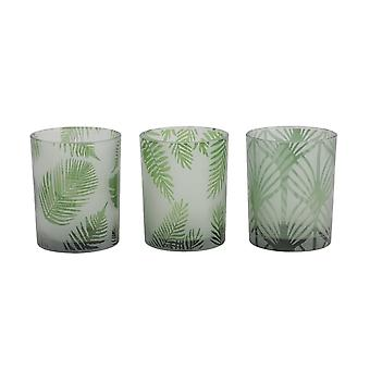 Light & Living Tealight 3 Set 10x12.5cm - Folhas Glass Green