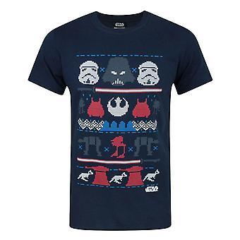 Star Wars Dark Side Fair Isle Men's Kurzarm Marine Weihnachten T-Shirt