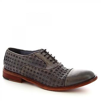Leonardo Shoes Męskie'ręcznie sznurowane buty z szarej aworkowej skóry cielęcej