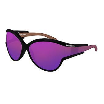 Balenciaga BB0038S 003 الأسود / البنفسجي مرآة النظارات الشمسية