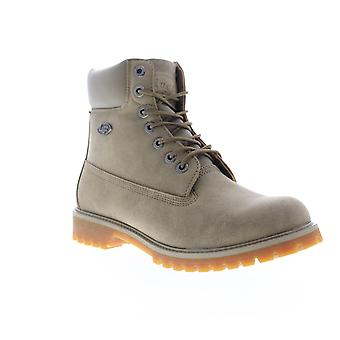 Lugz Convoy  Mens Gray Leather Lace Up Casual Dress Boots Shoes