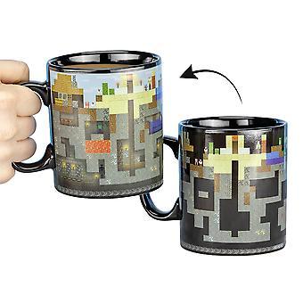 Minecraft thermal effect cup XL Heat Change zwart, gemaakt van 100% keramiek, in cadeauverpakking.