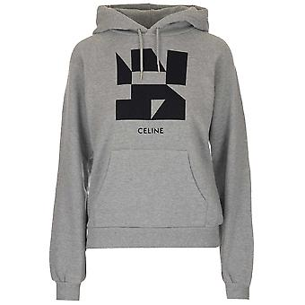 Céline 2y006610g09gb Women's Grey/black Cotton Sweatshirt