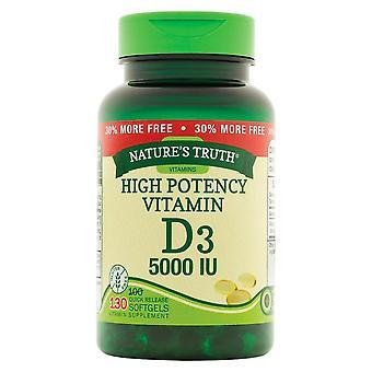 Nature''s truth high potency vitamin d3, 5000 iu, quick release softgels, 130 ea
