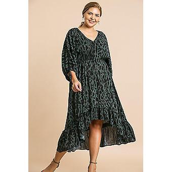 Animal print long puff sleeve dress