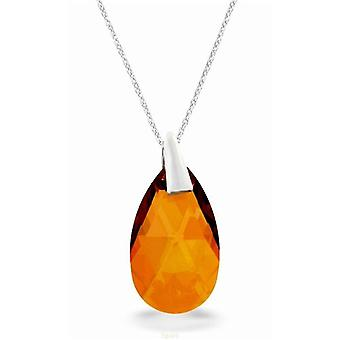 """Spark Crystal Sterling Silver Champagne Tear Drop Pendant Necklace 17""""+1"""""""