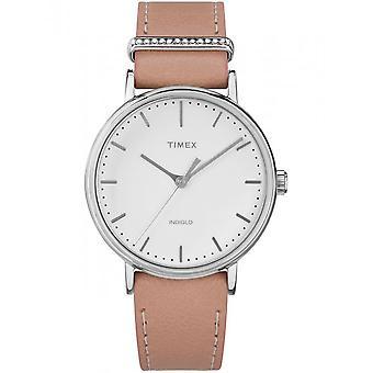 Timex damer se Fairfield krystall 37 mm skinn armbånd TW2R70400