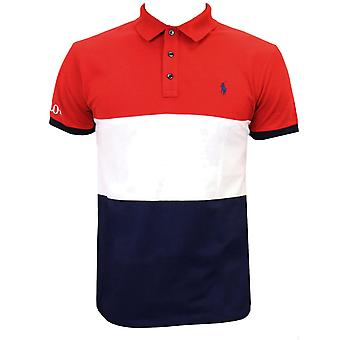 Ralph lauren men's red white and navy colour block polo shirt