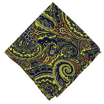 Michelsons of London Bright Paisley Silk Pocket Square - Yellow