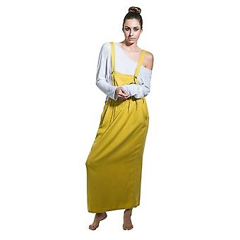 Long dungaree dress - mustard loose pinafore with t-shirt one size 8-14