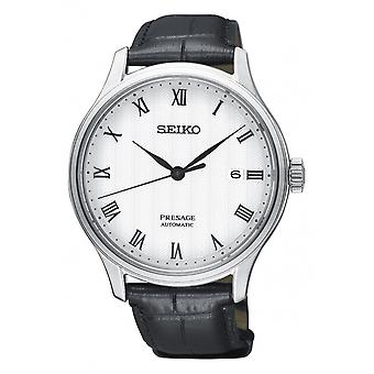 Seiko Watches Srpc83j1 Presage Stainless Steel Silver & Black Leather Automatic Men's Watch