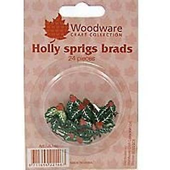 Woodware Craft Brads – Christmas Holly Sprigs, 24 Pieces