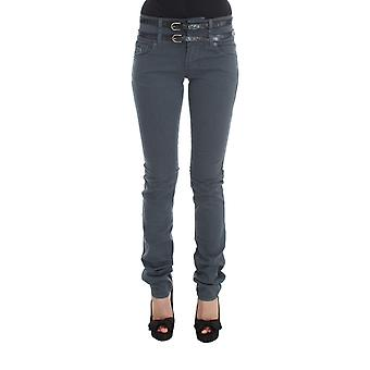 Galliano Blue Cotton Blend Slim Fit High Waist Jeans