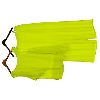 Masseys Plus Set Asymmetric Chiffon Pant Set Bright Lime Green