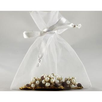 12 Small White Organza Favour Gift Bags - 10cm x 12.5cm