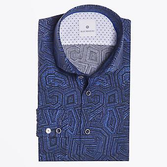 الصناعة الزرقاء - القطن جيو طباعة قميص - أزرق