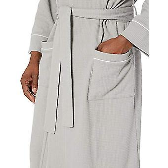 Essentials Men's Waffle Shawl Robe Sleepwear, -Light Grey, XL/XXL