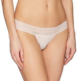 Merk - Mae Women's Lace Waistband Cotton Thong Panty, 3 Pack, Black/Dapple Grey/Potpourri, X-Large