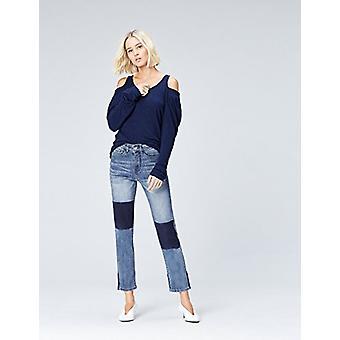 見つける。女性&アポス;sストレートレッグハイライズコントラストジーンズ、(デニムブルー)、EU XL(米国.