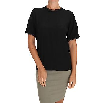 Dolce & Gabbana schwarz Seide Spitze Top Bluse T-Shirt