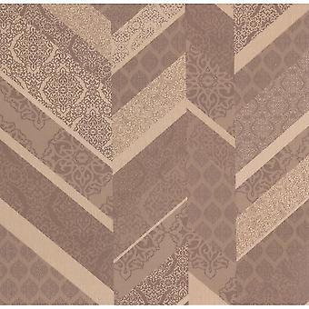 P&S International Stripe Ornament Metallic Textured Geometric Detail Tan Wallpaper