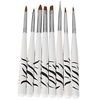 Nail Art pinceaux concevoir ensemble qui parsèment les outils de plume polonais brosse peinture dessin (8Pcs)