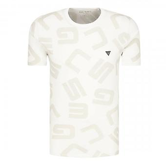 Guess G Allover Grey Logo Crew Neck T-Shirt M0YI84I3Z00