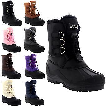 Unisex Kids Pull On Drawstring Closure Nylon Muck Duck Snow Rain Fur Boots 9-6