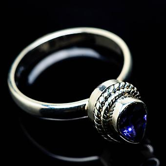 Faceted Tanzanite Ring Size 6.75 (925 Sterling Silver)  - Handmade Boho Vintage Jewelry RING25042
