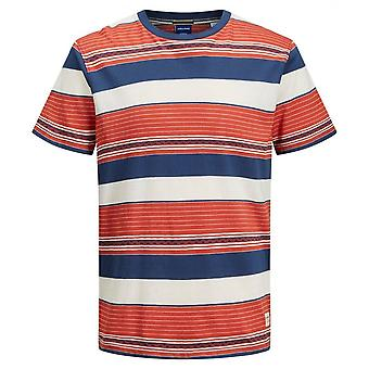 Jack & Jones Vizig Multi Coloured Stripe Tee (chili)