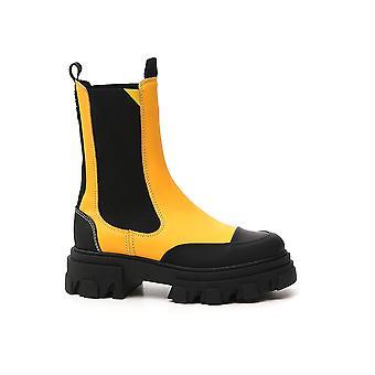 Ganni S1388302 Femmes-apos;s Bottes en cuir jaune/noir
