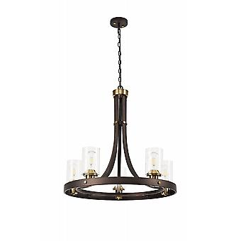 Elsie Pendant 5 Light E27, Brown Oxide/bronze With Clear Glass Shades