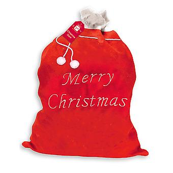 Extra Large Plush Santa Sack Christmas Presents Red & White Trim 90cm