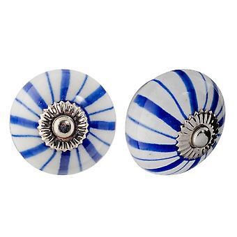 Nicola Spring Ceramic Cupboard Drawer Knobs - Diseño Floral - Líneas Azules Oscuros - Pack de 24